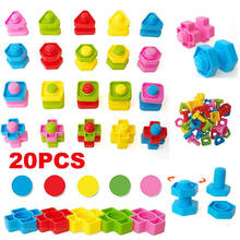Brand New 2018 pudcoco Newest Arrivals 20pcs 5 Colors Nuts and Bolts Baby Kids Building Blocks Creative Educational Kids Toy(China)
