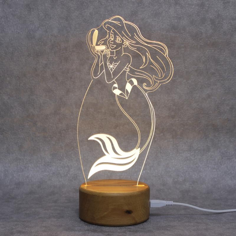 Wood Line Control Night Light Wooden Base 3D Mermaid Lights Home Decoration Retro Small Lamp Christmas Gifts