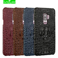 LoveCase Latest Genuine Leather Back Cover Case For Samsung Galaxy S9 Plus 3D Crocodile Skin Pattern