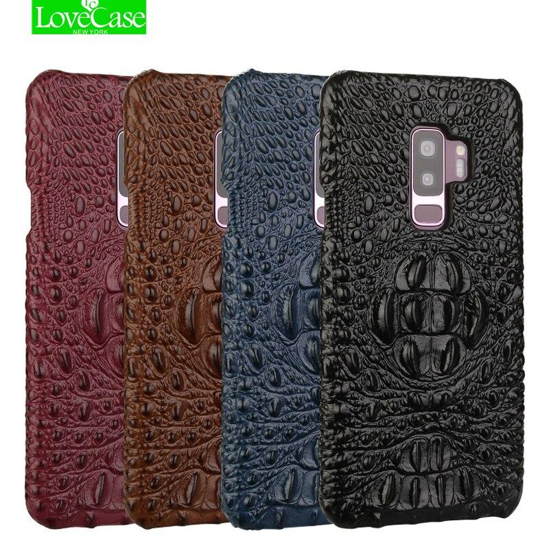 LoveCase Neueste Echtes Leder Rückseite Fall Für Samsung galaxy S9 Plus 3D Krokodilleder Muster Harte Fälle Für galaxy S9