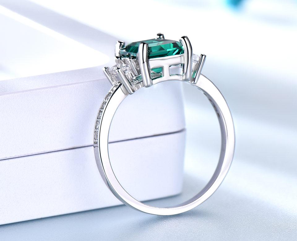 HTB1djm7mFkoBKNjSZFkq6z4tFXaS UMCHO Green Emerald Genuine 925 Sterling Silver Rings for Women Promise Princess Gemstone Ring Wedding Romantic Jewelry Gift New
