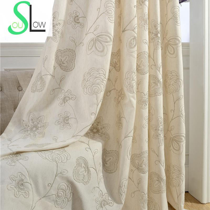Slow soul embroidered floral pastoral cotton flower for Living room curtain fabric