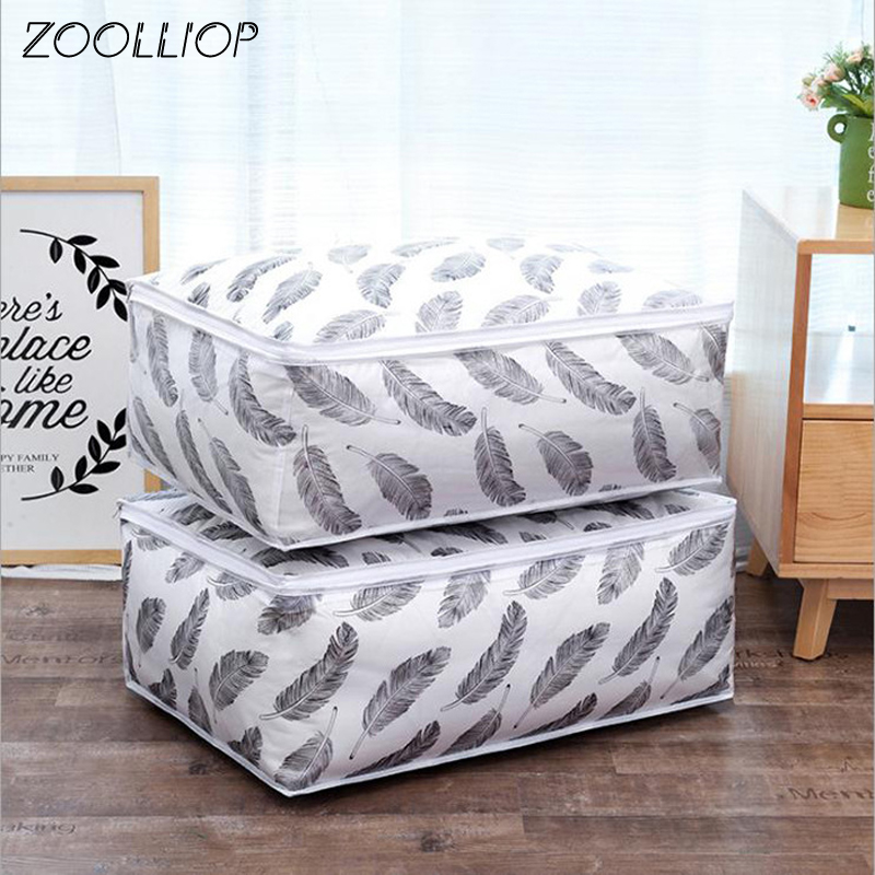 Hot sale Foldable Quilt Storage Bag Feather Print Home Clothes Quilt Pillow Blanket Storage Bag Travel Luggage Organizer Bag 1pc