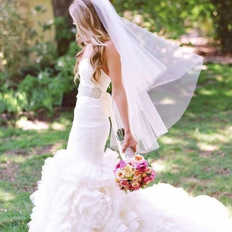 Styles Of Wedding Veils: Ivory Wedding Veils Two Tiers Fingertip Length Simple