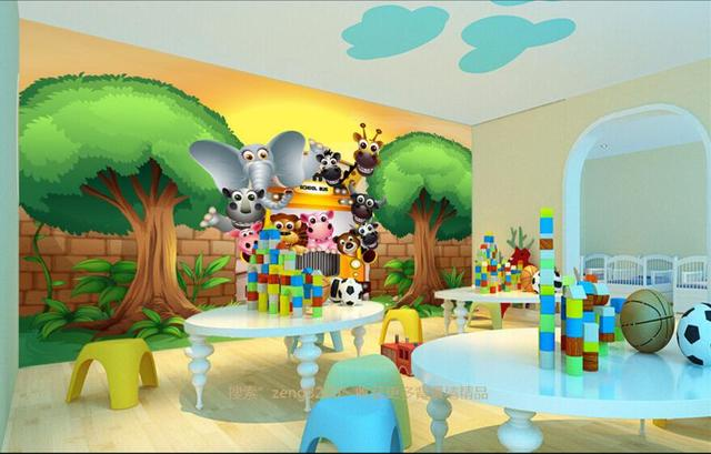 The Custom 3D MuralsAnimal School Papel De Parede3D Animation For Living Room
