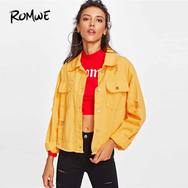 7b3bc1764c3 ROMWE Slit Side Frayed Denim Jacket Casual Breasted Women Ripped Yellow  Basic Coat Spring Fall Collar