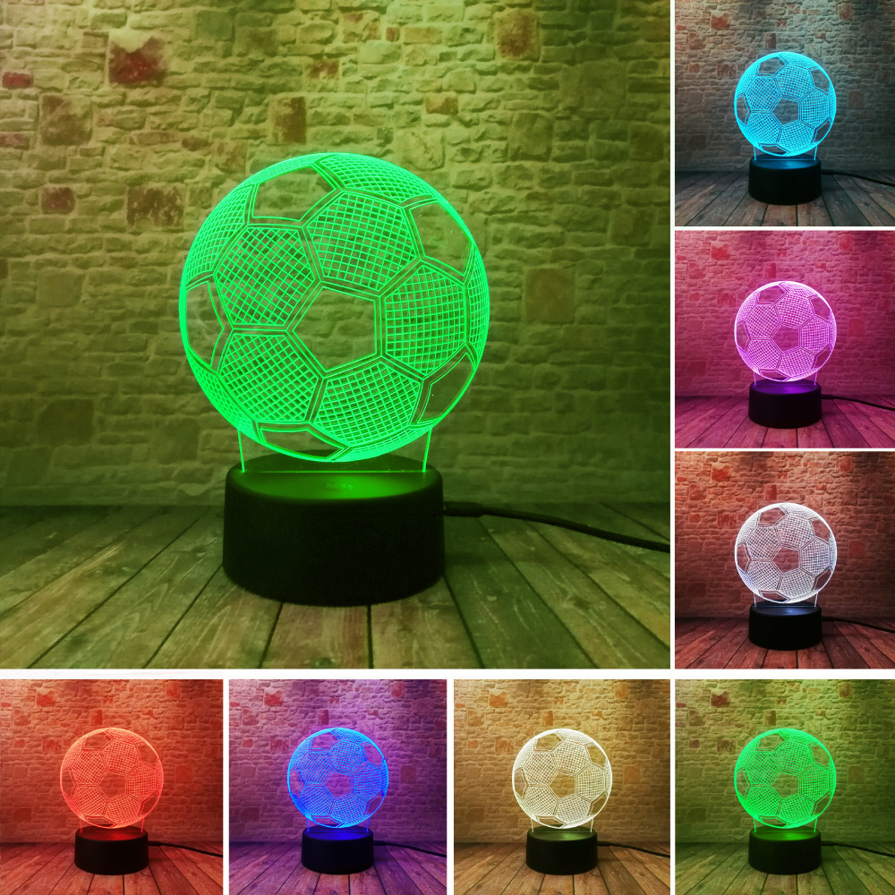 Novelty 3D LED Lamp Sensor Football Shaped 3D Night Light for Soccer Sports Fans 7 Color Changing Lighting Lamp Bedroom Lamp image