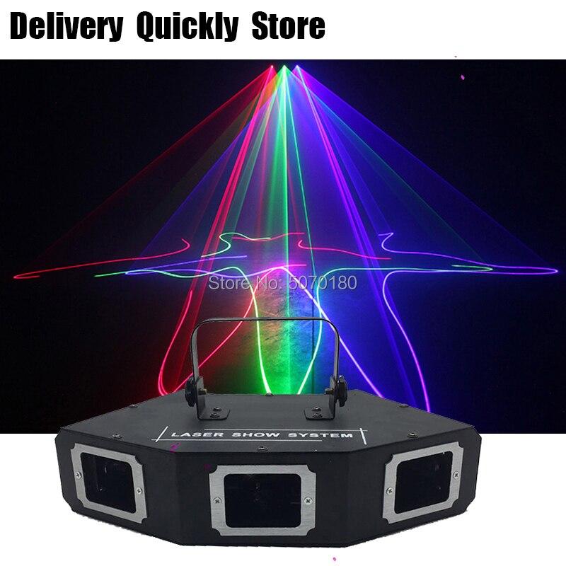 Sector Lijn Scanner disco laser 3Lens RGB Lazer professinol DJ Dance Bar Koffie Xmas Home Party Disco Effect Licht systeem Tonen - 4