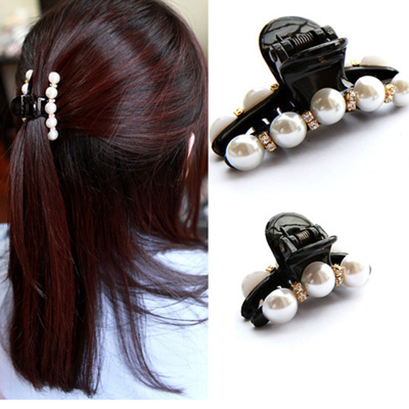 1pcs Hair Clip Black Claw Clip Crystal Pearl Plastics For Women/Baby Party Festival Rhinestone Hairpin 2 Sizes Hair Accessories 9356 women hair clip fashion hair claw black hairpin hair accessories for women simple hair crab clamp 2 7 2cm 12pcs lot