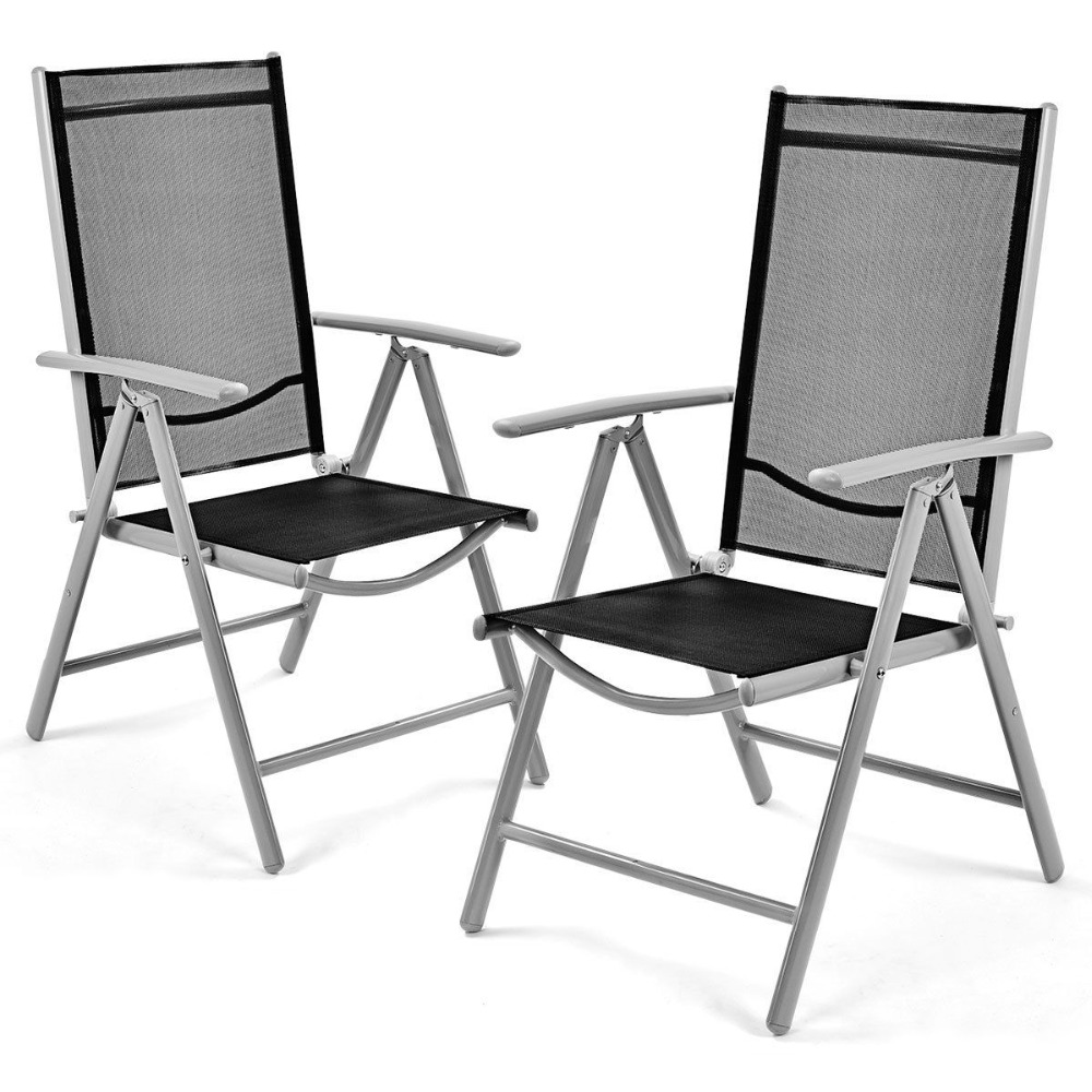 Goplus Set Of 2 Patio Folding Beach Chair Adjustable Reclining Indoor Outdoor Garden Aluminum Portable Fishing Chairs HW52027