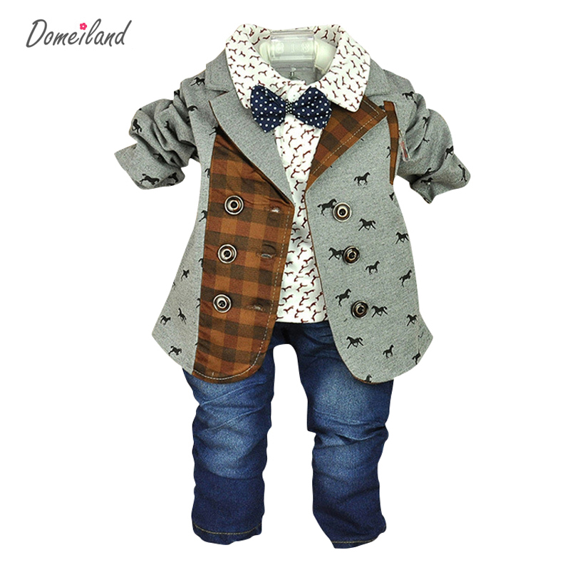 2017 brand domeiland fashion spring baby boy clothing for 3 pcs jackets clothes suits with polo shirts cotton jeans pant sets
