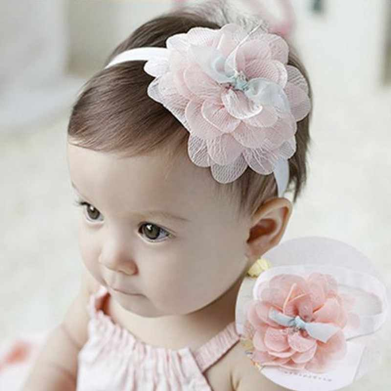 High Quality Cute Kids Headband Big Flowers Lace Newborn Elastic Hairbands Hair Accessories For Children Girls Headwear A279-2