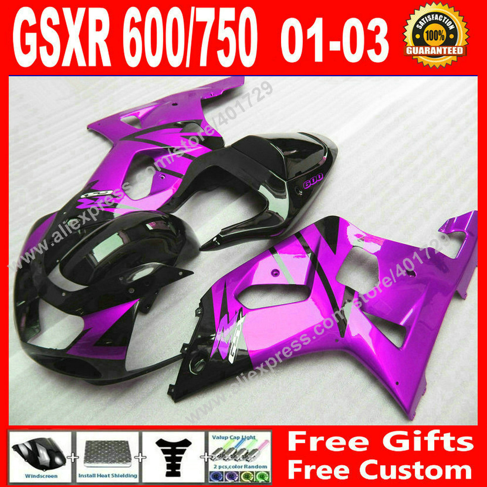 Hot sale Fairings for 2001 2002 2003 SUZUKI black purple bodywork GSXR 600 750 motocycle ...