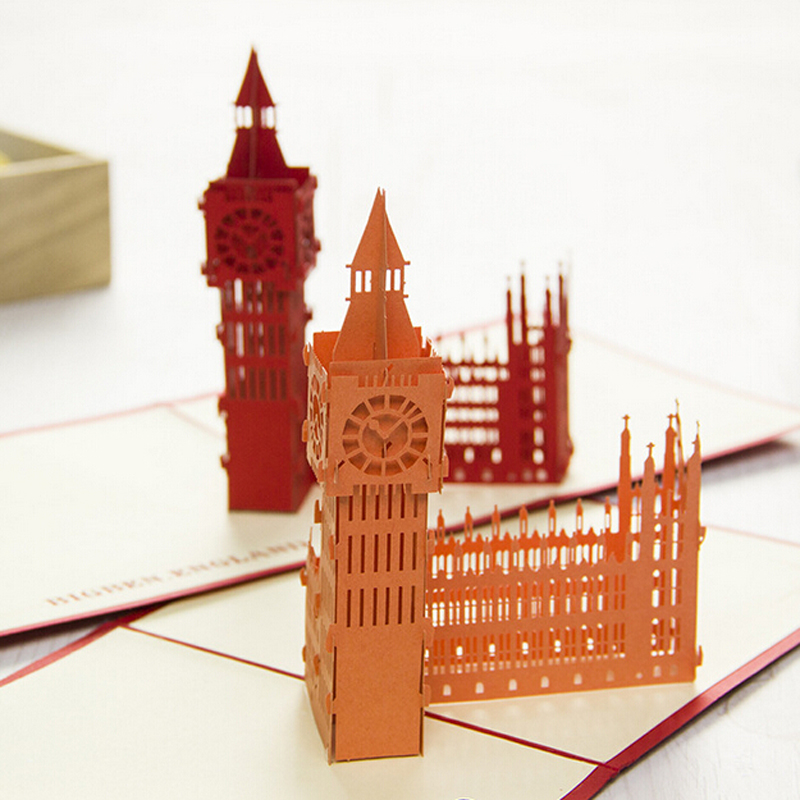 12 Pieces LotOrigami Paper Pop Up Greeting Card 3D Famous The Big Ben Building Model Gift For Friend Free Shipping In Cards Invitations From Home
