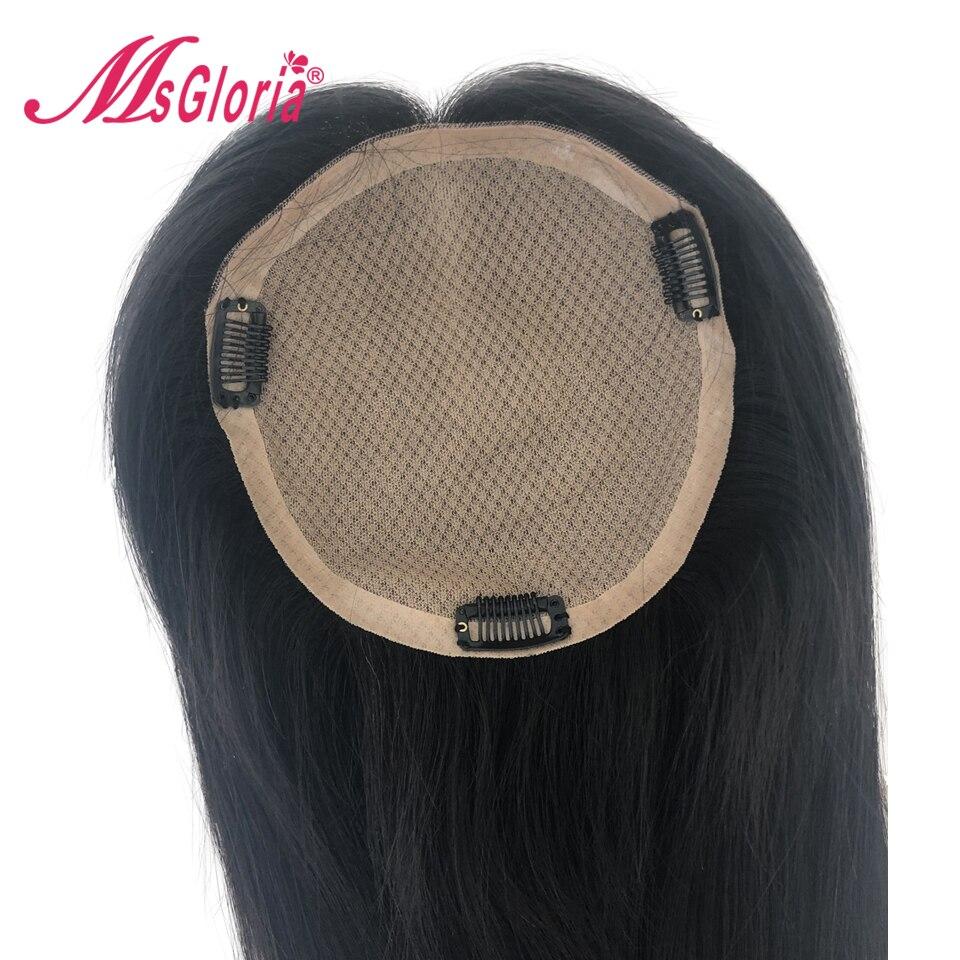 16*18 Cm soie Base 100% cheveux humains toupet pour femmes et hommes longueur de cheveux 6-16 pouces péruvien Remy cheveux blanchis noeuds avec Clips