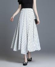2019 Summer Spring Women Polka Dot Pleat Skirt Female Black High Elastic Waist Party Sweet Pleated Mesh