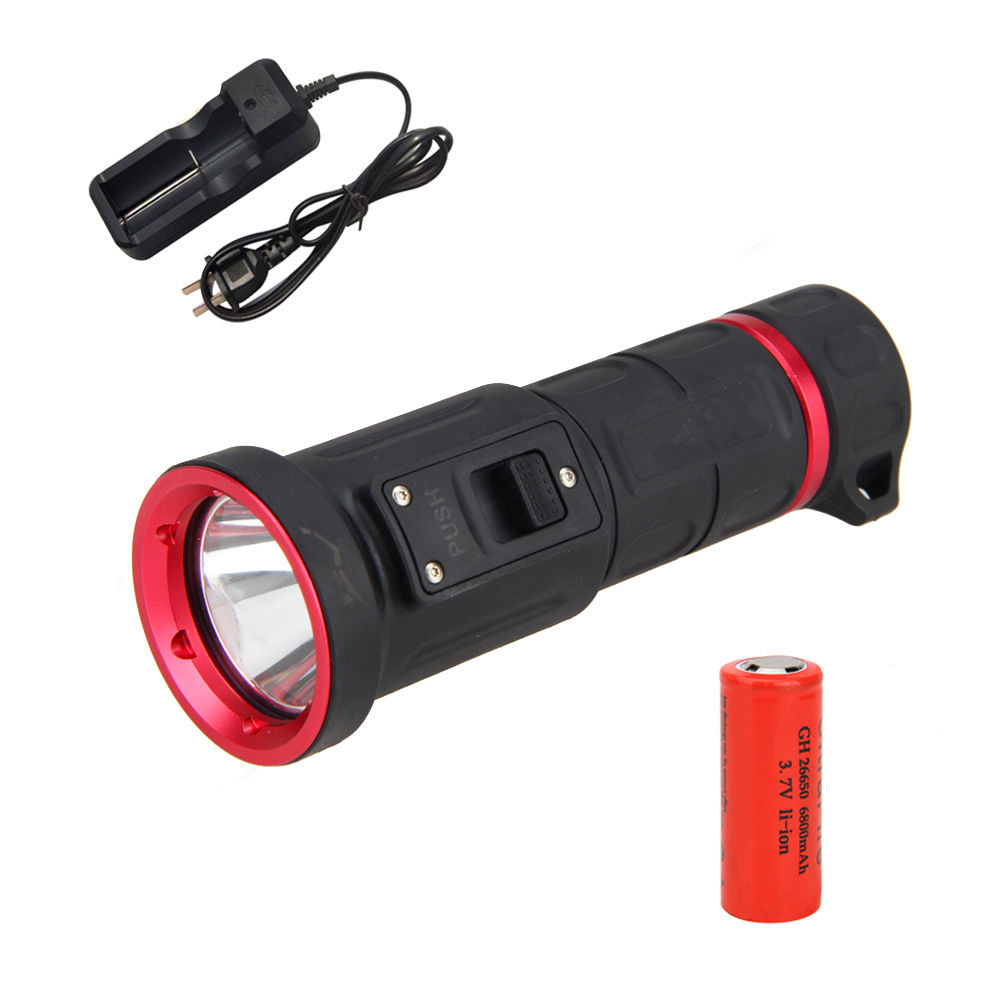 Waterproof 100m CREE XM-L2  LED SCUBA Diving Flashlight Torch Suitable for Outdoor Activities nitecore mt10a 920lm cree xm l2 u2 led flashlight torch