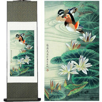 Silk Ink Painting Mandarin Duck Paintings H Scroll Painting Flower And Bird Painting Traditional Chinese Painting