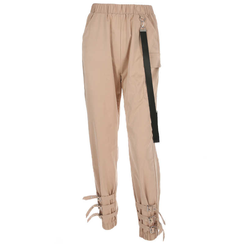 Rapwriter, модные, с тремя пряжками, тянущиеся, с высокой талией, узкие брюки для женщин, осень 2018, уличная одежда, брюки-карго для бега