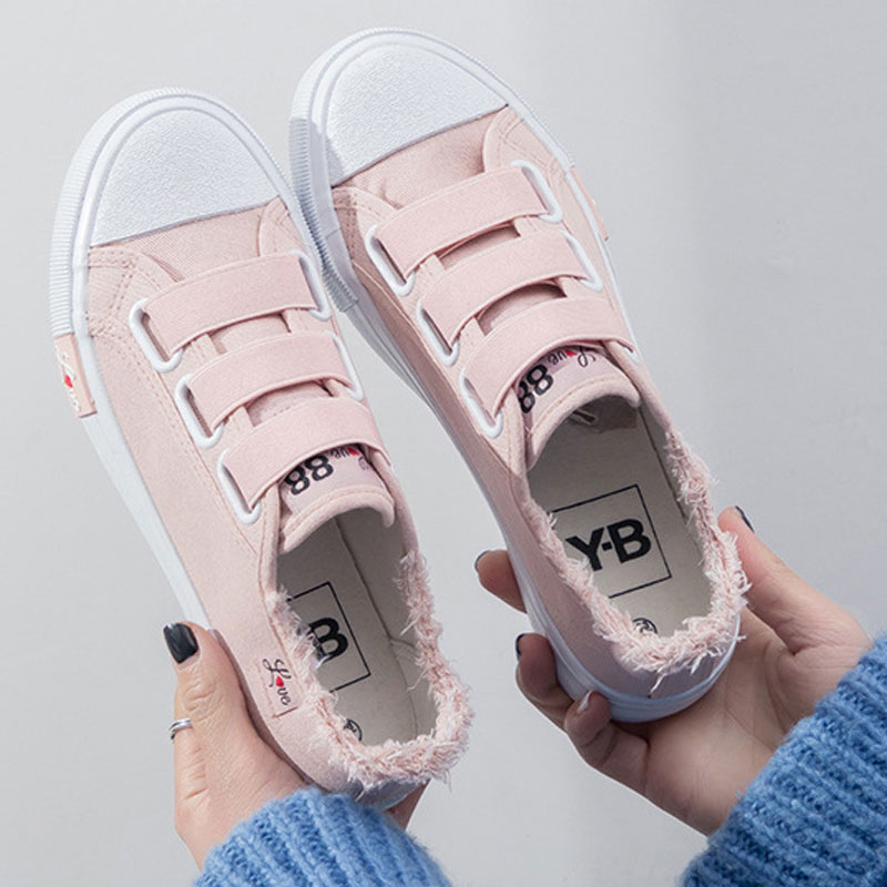 Women sneakers 2020 new solid fashion swwet breathable canvas casual shoes woman hook & loop sneakers women shoes