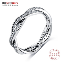 LZESHINE Authentic  925 Sterling  Silver Twisted Ring Wedding Bands Engagement Fashion Jewelry with USA Size #6 7 8 9 PSRI0057-B