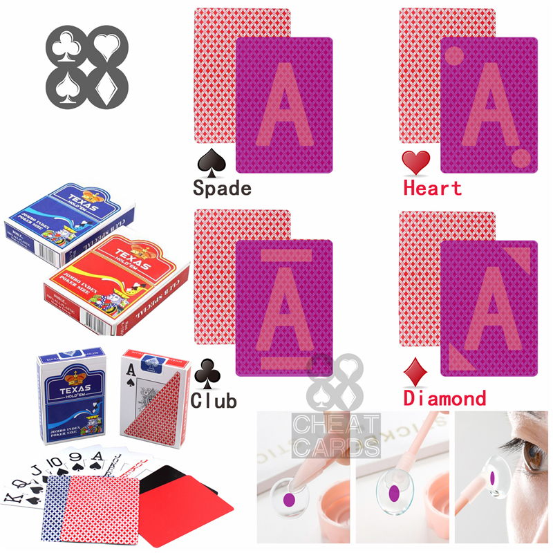 Perpsective Poker Playing Cards Texas Hold'em Poker Plastic Cheat Marked Cards Magic Glasses UV Contact Lenses Gamble <font><b>Cheating</b></font> image
