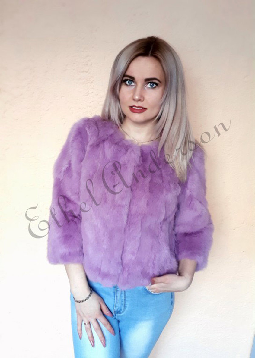 ETHEL ANDERSON 100% Real Rabbit Fur Women's Real Rabbit Fur Coat/Jacket Outwear Beauty Purple Color XXXL Size Coat