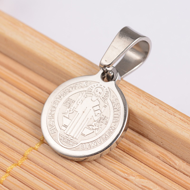 50pcs Flat Round with San Benito & Word Necklaces&Pendants For Stainless Steel Gold Pendant Necklaces 14x12x1.2mm, Hole: 4x6.5mm