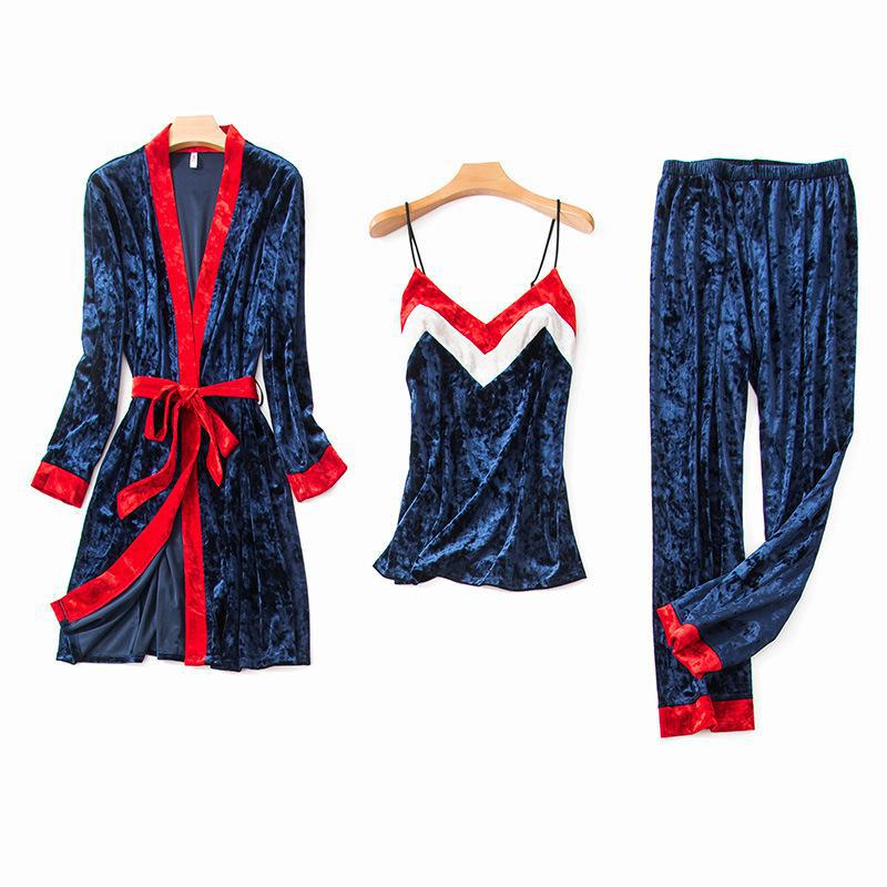 Sexy Cami Pants Robe Sleep Suit Women 3Pcs Sleepwear Velvet Pajamas Set Autumn Winter Warm Home