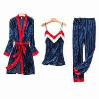 Sexy Cami+Pants+Robe Sleep Suit Women 3Pcs Sleepwear Velvet Pajamas Set Autumn Winter Warm Home Clothes Casual Nightwear L XL