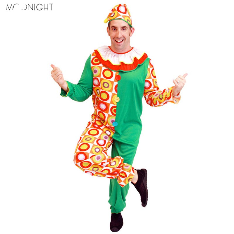 MOONIGHT Halloween Cosplay Circus Performance Clown Costume Adult Buffoon Halloween Unisex Cosplay Clothes Jumpsuit+Hat