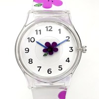 WILLIS Brand Fashion Women Watches Silicone Strap Wristwatch Girl Flower Belts Students Design Electronic Quartz Watch