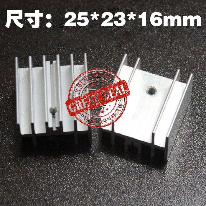 Free Shipping  Wholesale 100PCS Aluminum To220 Heatsink  25*23*16MM Transistor Heatsink Radiation Fin Siver