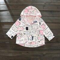 Spring Autumn Style Hooded Jacket Cartoon Cat Pattern Pink Jacket For Girls 2017 New Brand Windbreaker