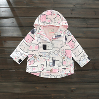 Spring Autumn Style Hooded Jacket Cartoon Cat Pattern Pink Jacket For Girls 2017 New Brand Windbreaker