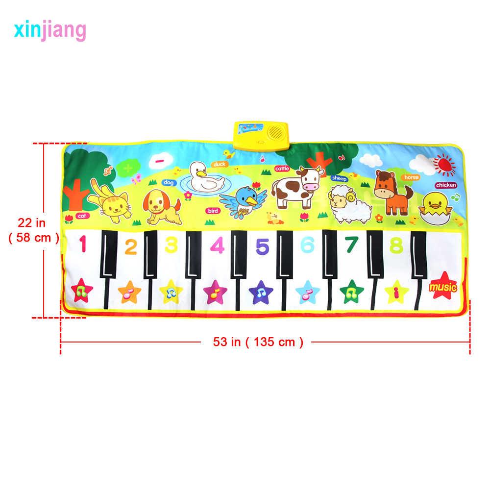 Mat Musical ของเล่นเด็ก 135x58 ซม.เสื่อดนตรีเปียโนพรมสัตว์ 8 เสียงเครื่องมือ TONE การศึกษาเด็กของเล่นเด็ก/