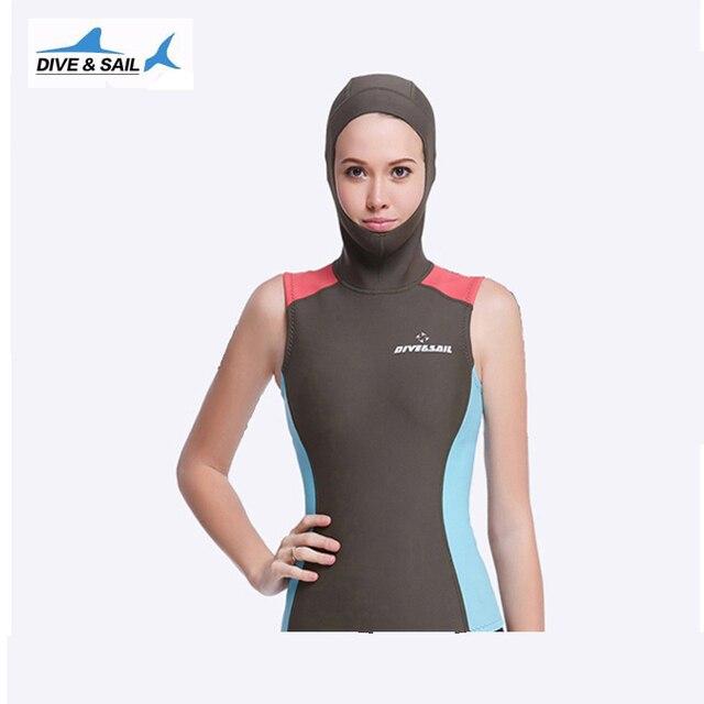 ed65d6688089 2mm Neoprene Scuba Diving Wetsuit Jacket For Women Hood short Sleeve Full  Zip Wet Suit Top Cool Ladies Snorkeling Clothes