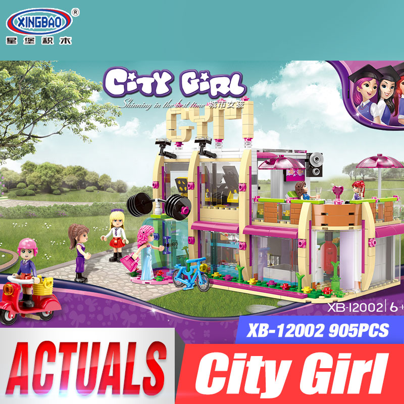 XINGBAO 12002 New 905Pcs City Girl Series The Gym Club Set Building Blocks Bricks Toys Model For Children As New Year Gifts the girl with all the gifts