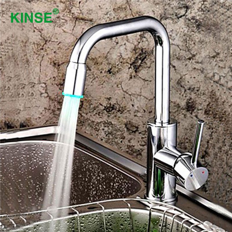 KINSE Brass Material Chrome Finish Kitchen Faucet Desk Mounted LED Kitchen Faucet Mixers Taps