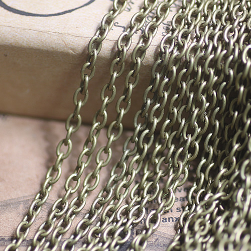 (20 meter/lot) 2*3mm antique bronze plated O shape chain long link jewelry accessary chains fashion jewelry cy162
