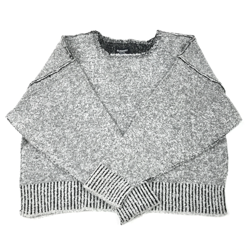 Wide Collar Heather Grey Oversize Sweater Hip Hop Loose Fit Raglan Kintted Pullover Kanye West Streetwear