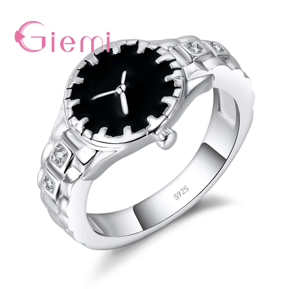 Special Romantic Watch Like Design Jewelry For Ladies Best Party Meeeting Finger Rings 925 Sterling Silver Accessories