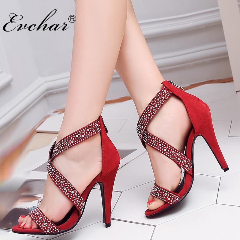 EVCHAR Women Sandals Shoes Spike-Heels Gladiator Rhinestones Plus-Size Fashion Super