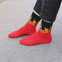 1 Pair Unisex Fashion Hip Hop Red Flame Pattern Crew Socks Men Lifelike Jacquard Fire Socks Classic Street Skateboard Long Socks(China)