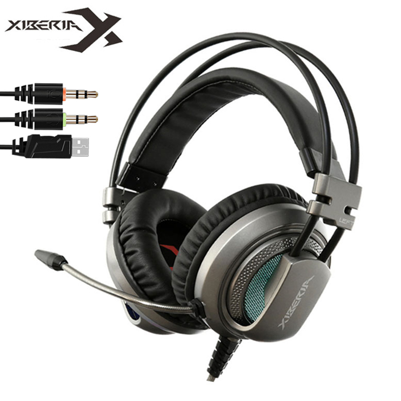 XIBERIA V10 Over-ear headband deep Bass Shock Gaming Headset Led light Headphone with Microphone for computer game Free shipping