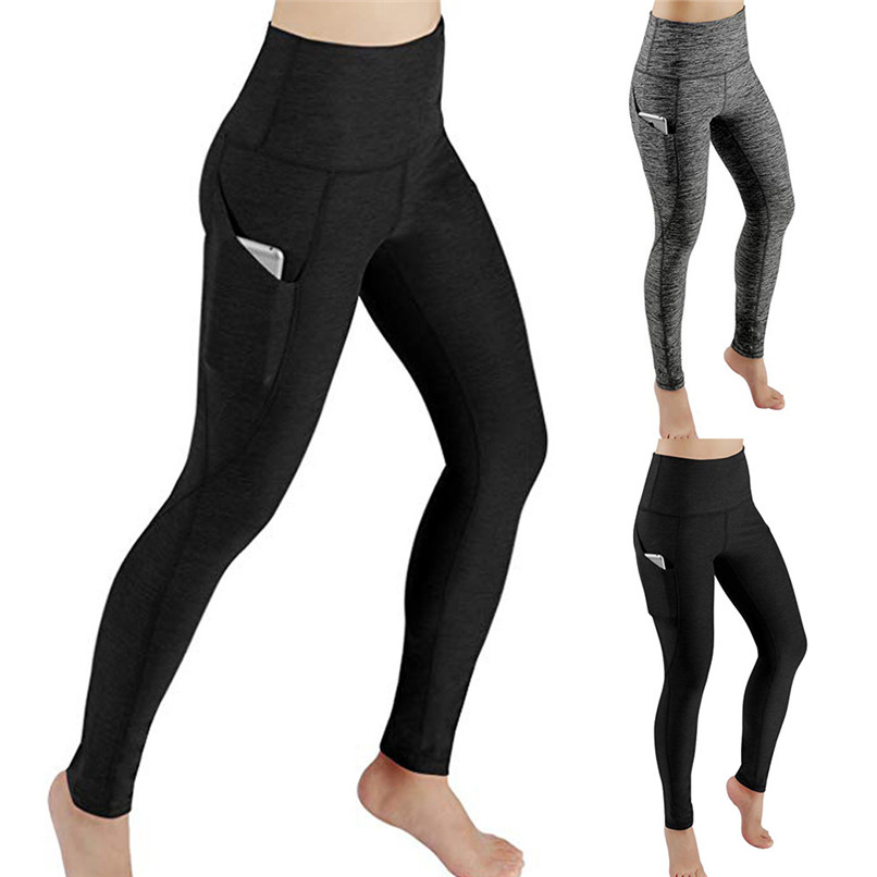 c7688e43fd Women Workout Out Pocket Leggings Fitness Sports Gym Running Yoga Athletic  Pants Elasticity WEaistband Pants Winter ...