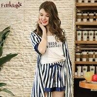 Fdfklak Fashion striped 3 pieces set spring summer silk pajamas women sleepwear suit home clothes lounge wear pijama mujer