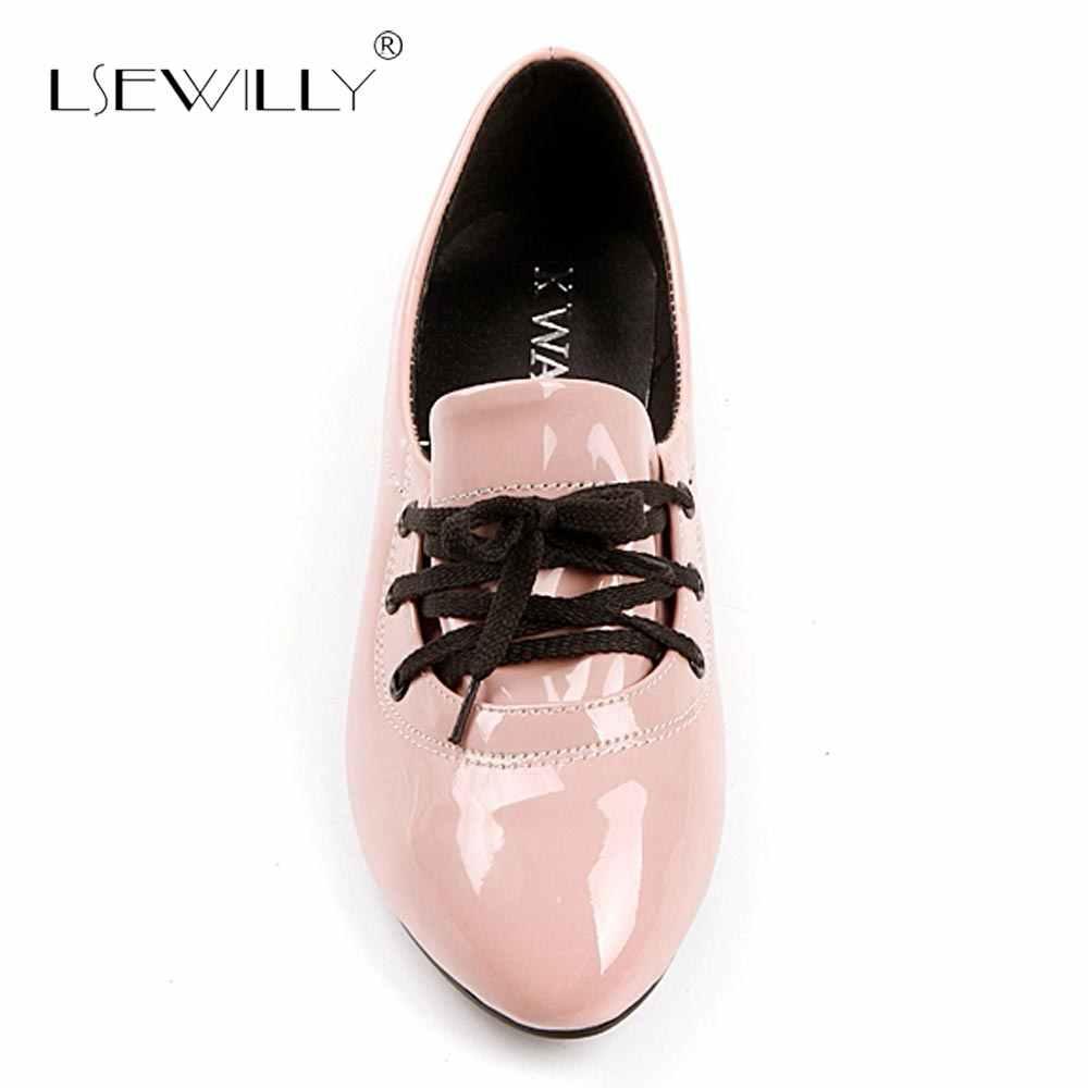 Lseilly, zapatos planos informales de otoño con punta estrecha para mujer, zapatos sencillos y cómodos con cordones para mujer, zapatos informales de trabajo de conducción plana S304