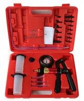 Hand Held Vacuum Pump& Brake Bleeder Kit Aluminum Pump Body Pressure Vacuum Gauge