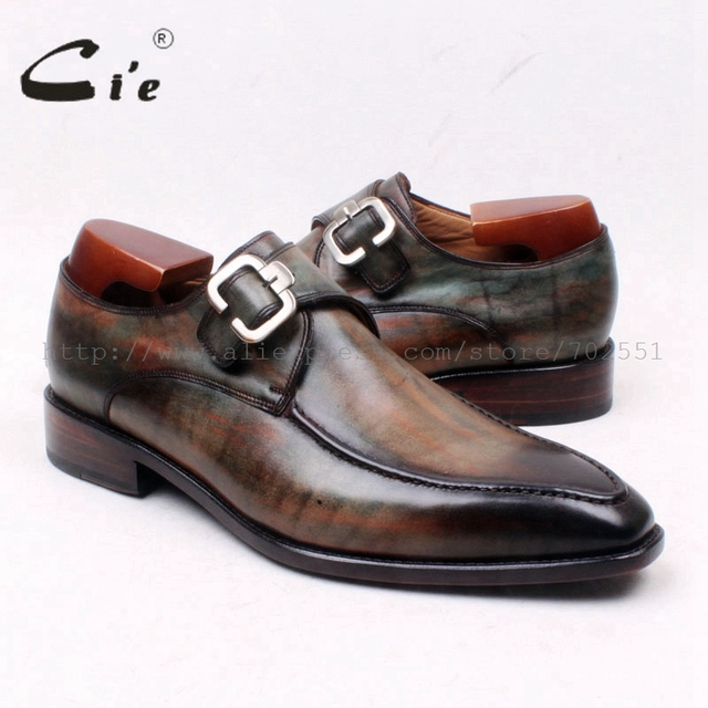 cie Square Toe Hand-Painted Handmade Single Monk Straps Pure Genuine Calf Leather Bottom Outsole Breathable Men's Flat ShoeMS127